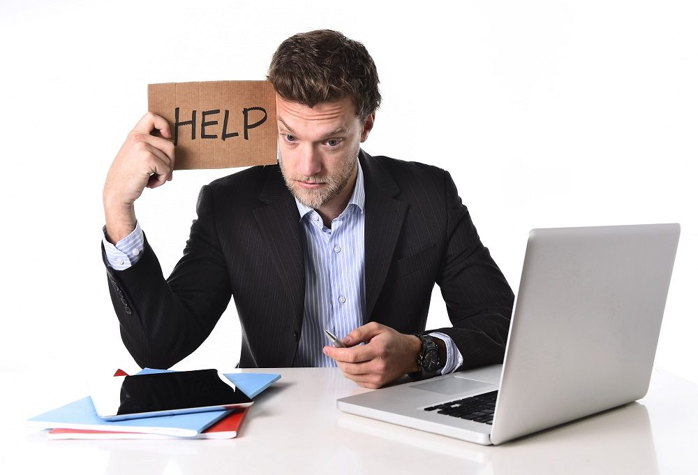 Businessman needing help with a presentation